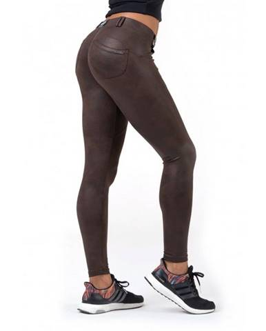 Dámské legíny Nebbia Leather Look Bubble Butt 538 Brown - S